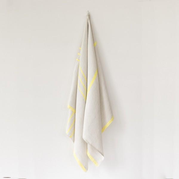 serviette GM lin gris jaune