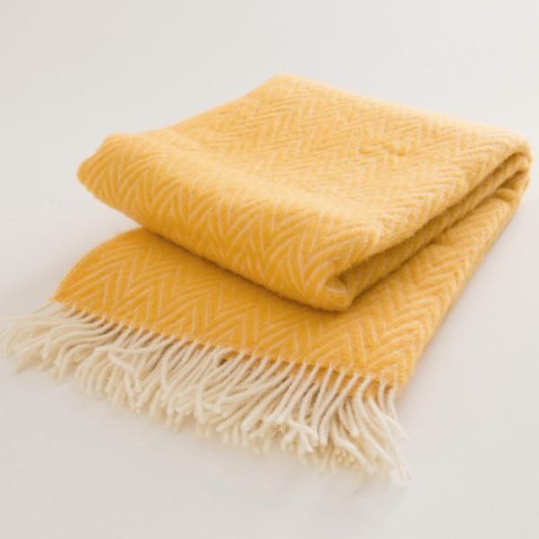 plaid laine naturelle chevrons jaunes