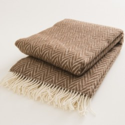 plaid laine naturelle chevrons bruns de chez Lapuan Kankurit