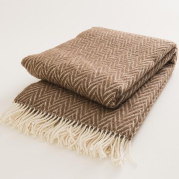 plaid laine naturelle chevrons bruns