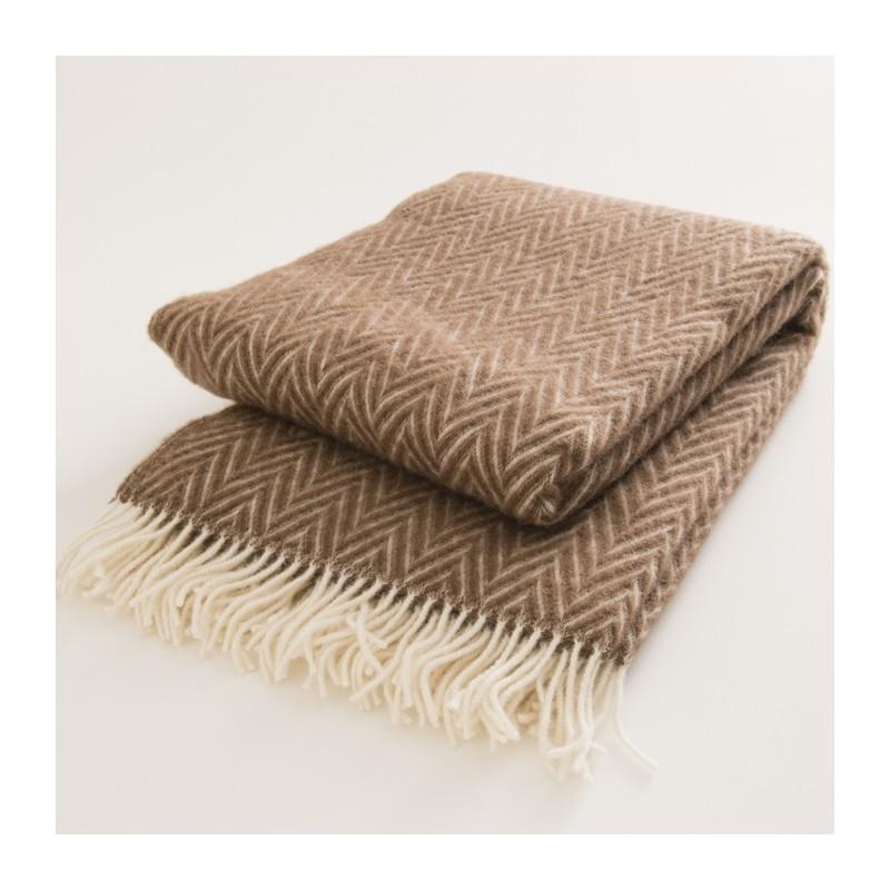 Plaid en laine naturelle 130x200 chevrons bruns 334ec32bc59
