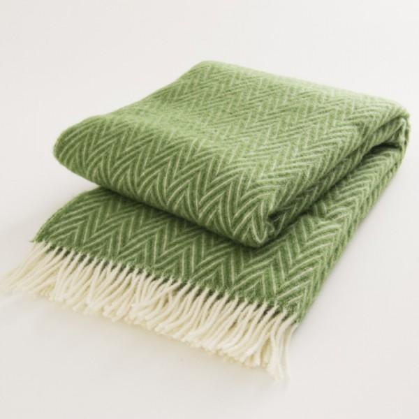 plaid laine naturelle chevrons verts