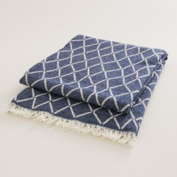 plaid laine naturelle losanges marine
