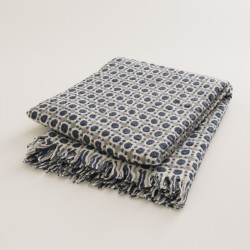 plaid laine naturelle seventies bleu