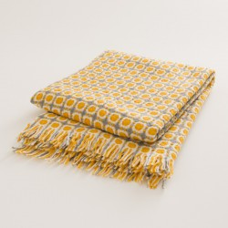 plaid laine naturelle seventies jaune