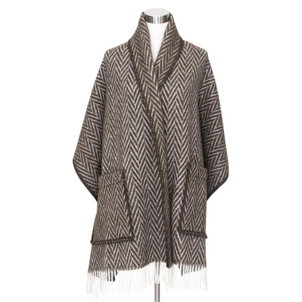 châle laine naturelle chevrons bruns