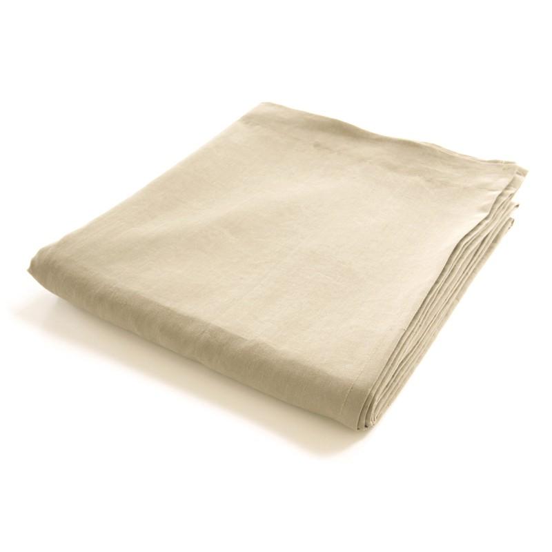 drap de lit plat en lin 100 pur fil coloris naturel non teint. Black Bedroom Furniture Sets. Home Design Ideas
