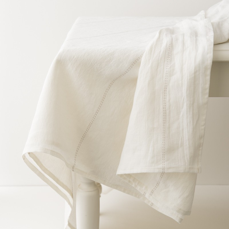 Nappe en lin lav blanc liser ficelle - Nappe en lin lave ...