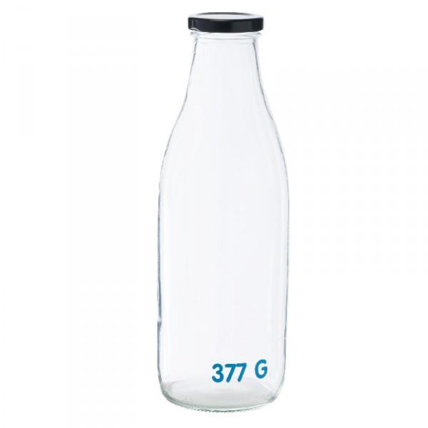 Bouteille 1 litre en verre avec tare pour épicerie en vrac