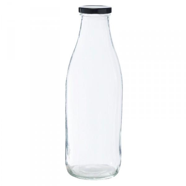 Bouteille 1l en verre avec capsule noire pour épicerie en vrac