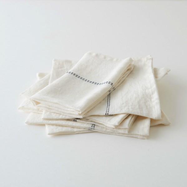 serviette de table en lin lav blanc liser noir. Black Bedroom Furniture Sets. Home Design Ideas