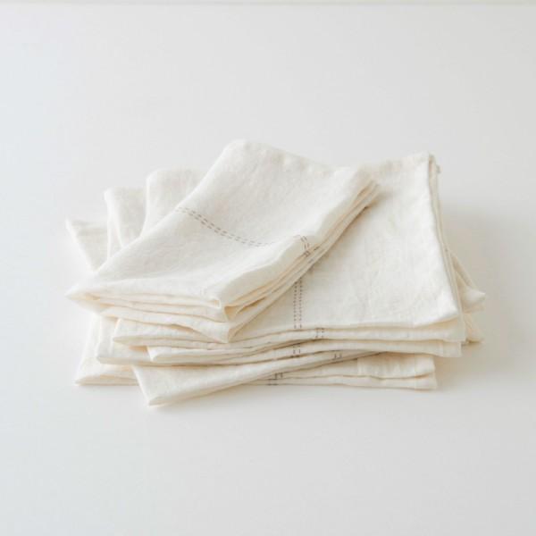 serviette lin blanc liseré ficelle
