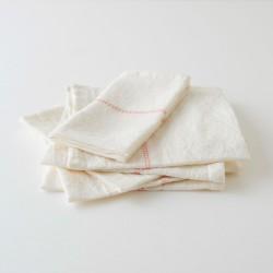 serviette lin blanc liseré carotte