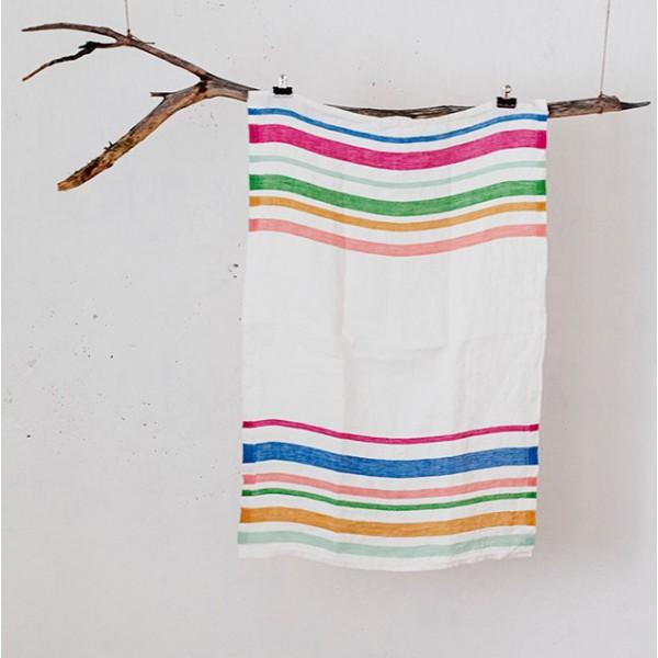 serviette PM lin rayé multicolore