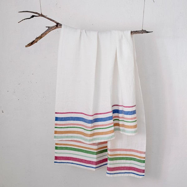 serviette GM lin rayé multicolore