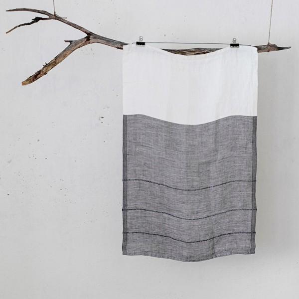 serviette PM lin bicolore blanc/gris