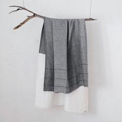 serviette GM lin bicolore blanc/gris