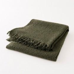 plaid laine naturelle uni vert