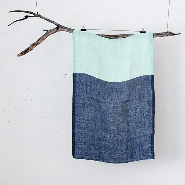 serviette PM lin bicolore bleu-vert
