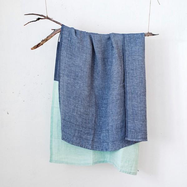 serviette GM lin bicolore bleu/vert
