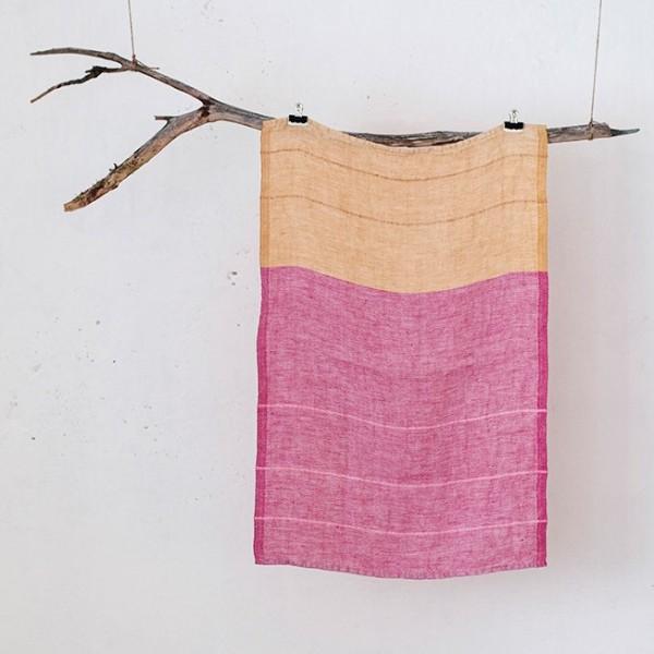 serviette PM lin bicolore rose-orange