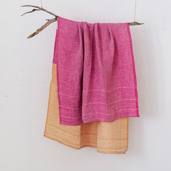 serviette GM lin bicolore rose orange
