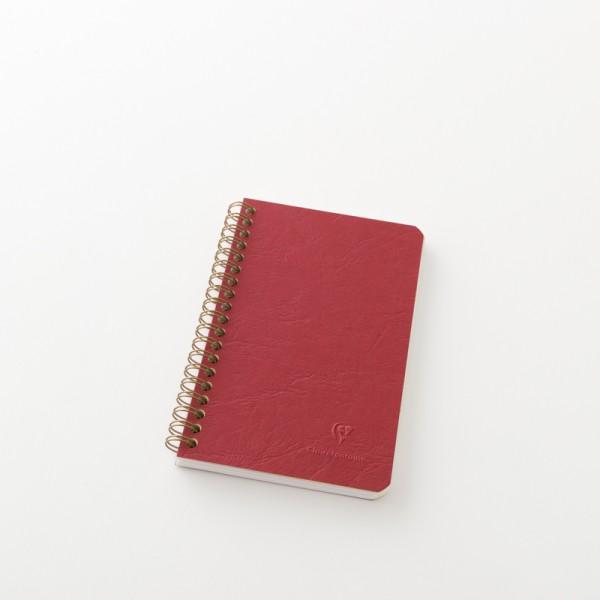 Carnet 11x17 3 poches couverture parchemin rouge