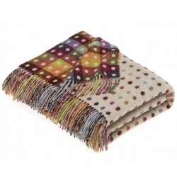 plaid laine Lambswool beige pois multicolores