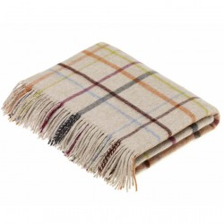 plaid laine Lambswool carreaux beige multicolore