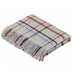 Plaid laine Lambswool 140x185 fond gris et carreaux multicolores