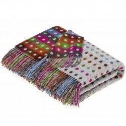 Plaid laine Lambswool 140x185 fond gris pois multicolores