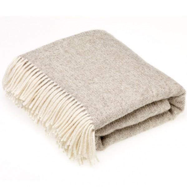 plaid laine naturelle chevrons beiges