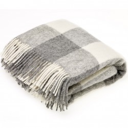 plaid laine naturelle damier gris