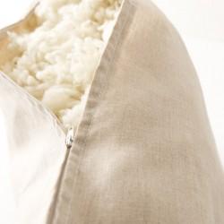 Oreiller 65x65 en laine déhoussable détail garnissage