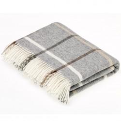 plaid laine vierge carreaux gris bruns