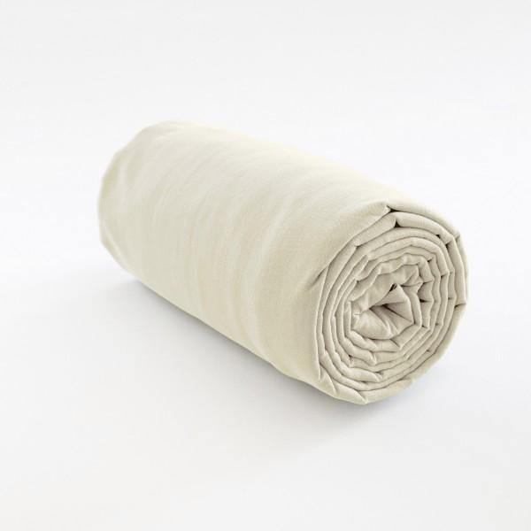 Drap housse en lin 100 pur fil coloris perle - Drap housse 160x190 ...