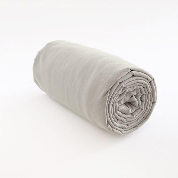 drap housse en lin 100 pur fil coloris cendre. Black Bedroom Furniture Sets. Home Design Ideas