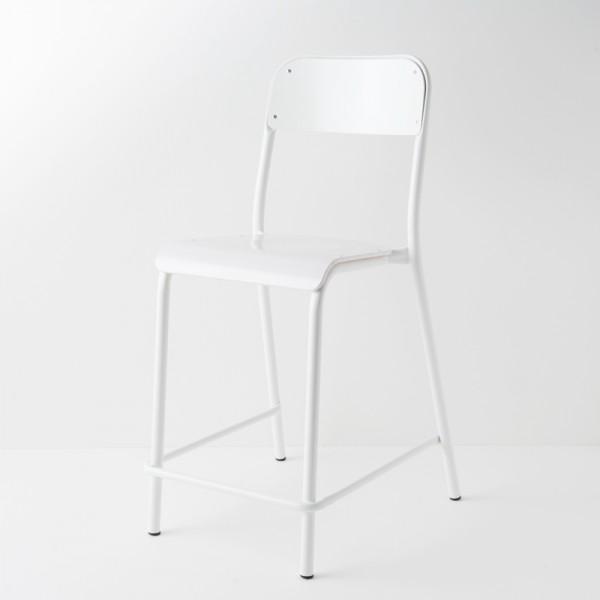 chaise d'école haute laquée blanc