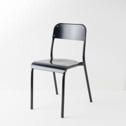 chaise d'école laquée noire