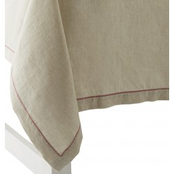 nappe lin naturel zigzag rouge