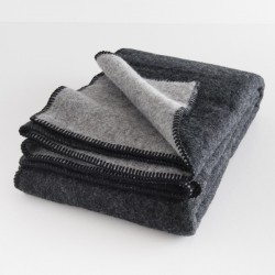 plaid laine reversible gris/noir