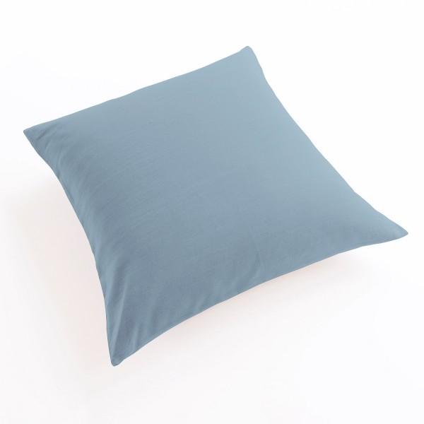 taie oreiller et traversin lin gris-bleu en 65x65