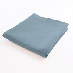 drap de lit plat 100% lin gris bleu