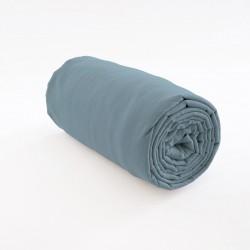 drap housse 100% lin gris-bleu