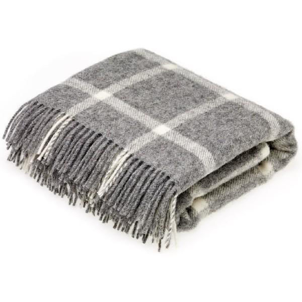 Plaid 130x200 en laine naturelle fond gris à carreaux