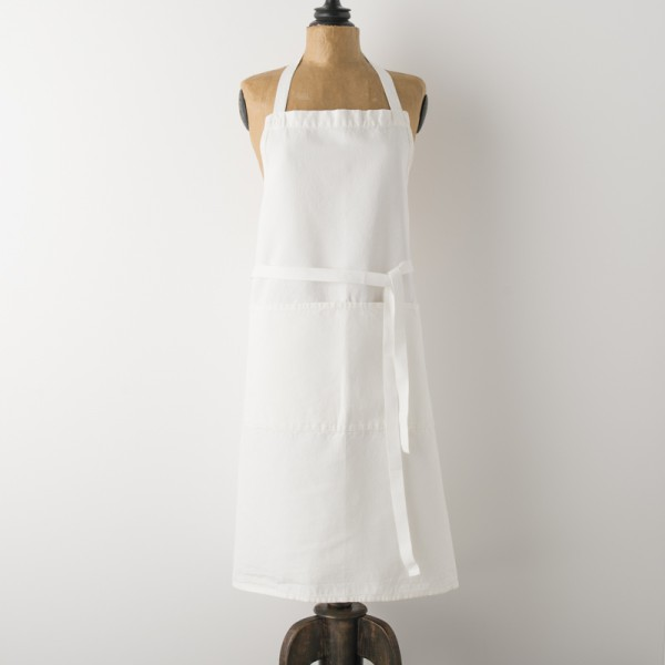 tablier d'office en lin blanc crémier