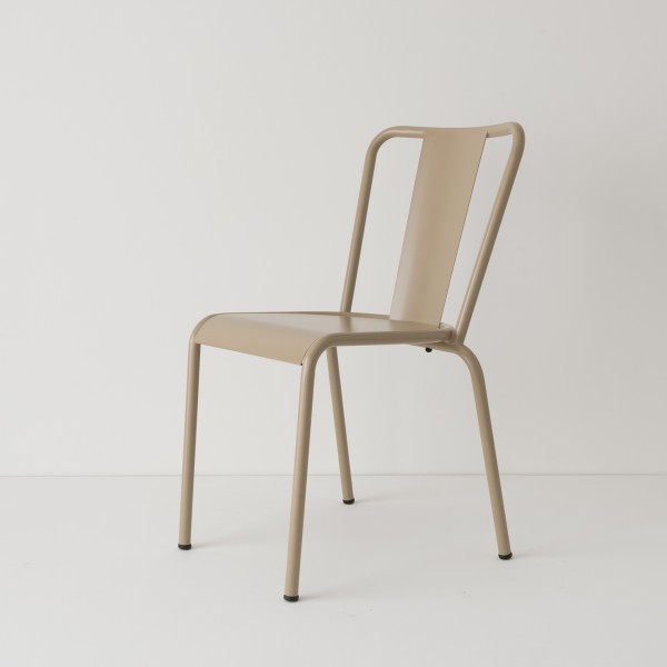 chaise de jardin métal beige