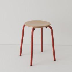 tabouret ht 46 cm tube + bois coloris rouge RAL-design 040 40 60