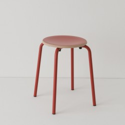 tabouret ht 46 cm tube + HPL coloris rouge RAL-design 040 40 60