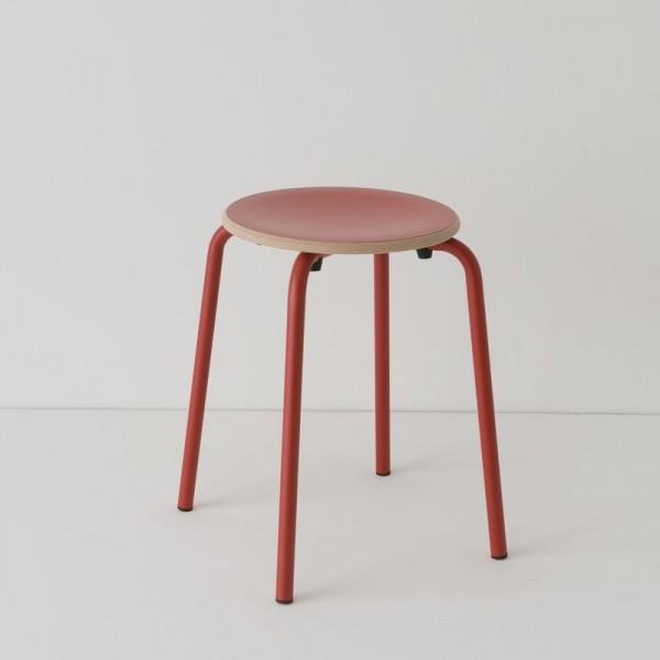 tabouret ht 46 cm tube + HPL coloris rouge RAL-design 040 40 60
